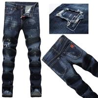 2014 European and American men's  DSQ jeans, men's D2 super-paint points Korean Slim Straight Jeans
