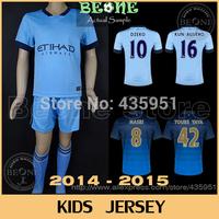 14 15 Kids Embroidery Thai quality SILVA AGUERO DZEKO NASRI Soccer jersey Youth /Boy Camisetas de futbol  / FREE Customize