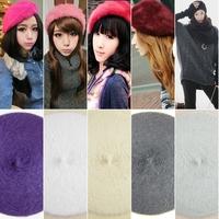 Women Classic All-match Multi-color Warm Rabbit Fur Beret Autumn Winter Cap Hat Hats For#65926