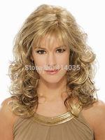 New Fashion women's Medium Long Curly Natural Hair Curly wig Synthetic Hair no Lace Front Kanekalon Cosplay Wigs free shipping