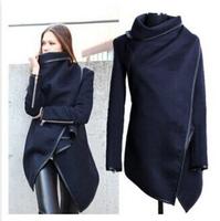 Fashion 2014 Winter New Slim Overcoat Leather Trim Zipper Windbreaker Woolen Coat Female Asymmetric Design Black Grey S-XXXL