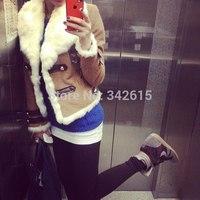 Plus size Fur collor winter coats fashion 2014 wool blend brand button woman wadded jackets lapel slim female outerwear