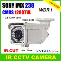 Latest CMOS 1200TVL Sony Imx238 WDR IR-CUT Better Night Vision 2.8-12mm Varifocal Lens Outdoor Security CCTV IR Camera