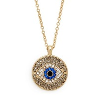 Top Quality Fashion Accessaries Newness Design Sliding Evil Eye Pendant with Rhinestone Necklace For Women Nice Gift