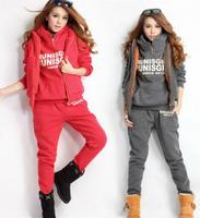 2014 New autumn winter women's Casual tracksuits three pieces hoodies fleece sweater thick sport suit women tops +vest +pants