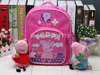 peppa pig backpack+15cm Peppa George plush toy school bags  lovely pink backpacks schoolbag peppa pig plush