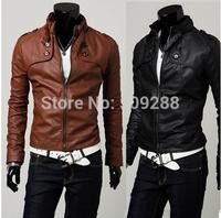 Autumn Korean version Four buckle short Slim Faux Leather jacket ,mandarin collar Motorcycle leather  Men 's leather jackets