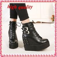 platform shoes ankle boots heels lace up motorcycle boots women winter autumn fur boots wedges shoes rivet punk boots black Y214