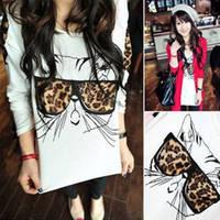 Leopard print glasses cat t shirt long sleeve shirt
