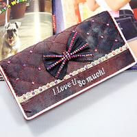 lovely bow diamond wallet long design women fashion denim plaid wallet clutch bag female small handbags