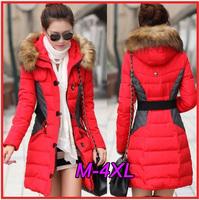 2014 New Brand Fashion Clothing Fur Hooded Zipper Long Style Women Warm Down Coat Winter parkas coat Size M-4XL DF-226