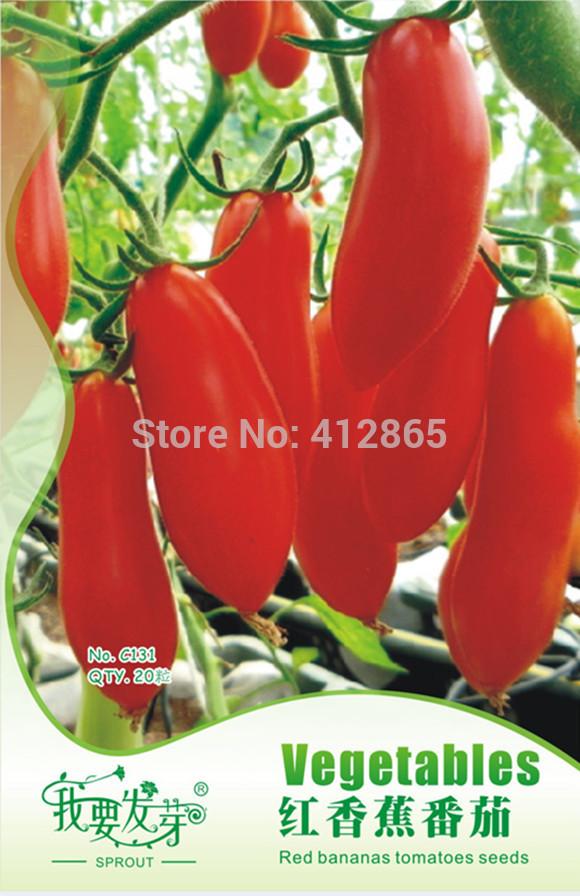 20PCS/ Bag Red Banana Tomato Seeds, Original Package Novel Plant Vegetable Fruit Seeds DIY Home Garden Easy Grow(China (Mainland))