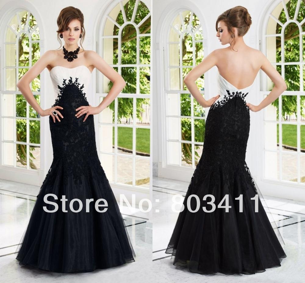 21 elegante vestido strapless sereia estilo 70914 apliques de renda ocasião social organza marfim preto dress15 noite(China (Mainland))
