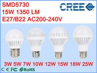 1pcs/lot Super Bright E27 B22 3W 5W 7W 10W 12W 15W 18W 25W SMD5630 SMD5730 LED Bulb AC220V 230V 240V led lamp LED light