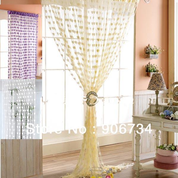 Nova gratuito ShippingHigh Qualidade Tassel quarto Cadeia porta cortina da janela de suspensão Com Corações Forma Design Pattern(China (Mainland))