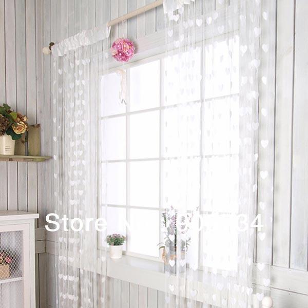 livre novo shippingfashion borla quarto string cortina de porta com corações brancos design padrão francês janela pendurado decoração(China (Mainland))