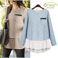 brand tops for women winter/winter two piece blusas femininas tunic T-shirt long sleeve pullover camisetas women S-XL plus size