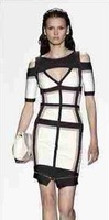 2014 new women white and black colorblock short sleeve cutout bodycon sexy evening party Bandage Dress