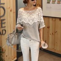 2014 new blusa de renda fashion t shirt women clothing women tops tees clothes blouses t-shirt Sweet Lace Hollow out Crochet
