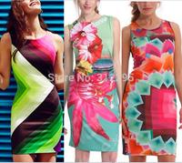 FreeShip B4165 S,M,L Digital Print Women Bandage Bodycon Dress 2014 New Brand Fashion Summer Dress High Street Celebrity Dress
