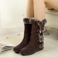 High Quality Cow Leather Nubuck botas femininas 2014 Snow Boots For Women Knee-High Hells Autumn boots