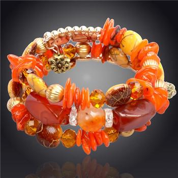 Романтический разноцветные ручной природный камень браслет 14 К позолоченные браслеты ...
