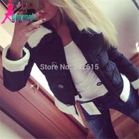 2014 Gagaopt female down coat fuzz trun down collar short wadded jacket for woman fashion slim female snow outerwear