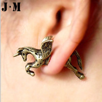 2014 Women Men New Fashion Wholesale HOT Fly Horse Cartilageear cuff earrings,punk rock earrings,ear clips jewelry