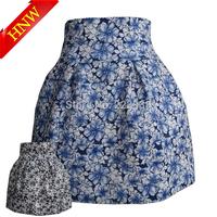 2015 New Women skirts Fashion high waist Sky Blue Apricot flower Printed Pearl zipper Elastic Ball Gown Plus Short Skirt F1637