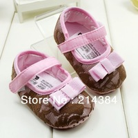 Free Shipping! Hot selling pink girl baby shoes,girls bowknot shoes, Cute baby girl plaid shoes, 6 pairs/lot !