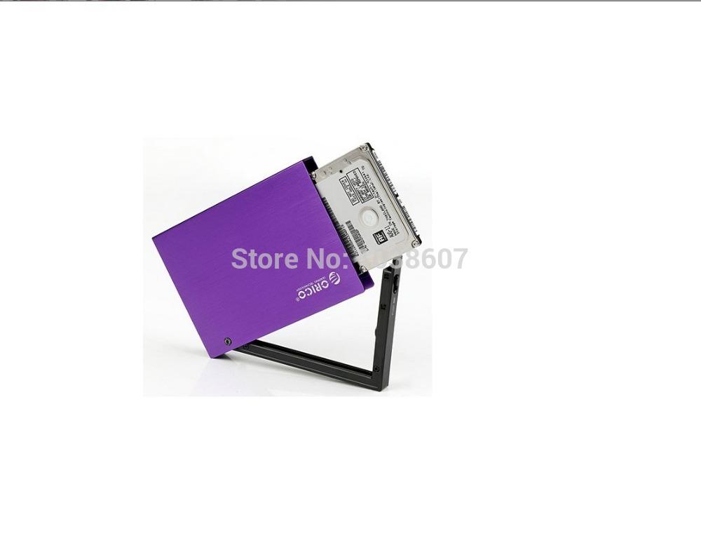 2.5'' External Hard Disk Drive Enclosure Case USB 2.0 for HDD SATA / Aluminum as Purple(China (Mainland))