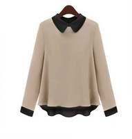 Fall 2014 Fashion Leisure Elegant Brand Women Long-sleeve Chiffon Spliced Shirt Lapel Basic t-shirt Long Sleeve Top T11-67