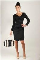 Women   V-neck casual  dress  shealth dress  full sleeve Asymmetric dresses 1006