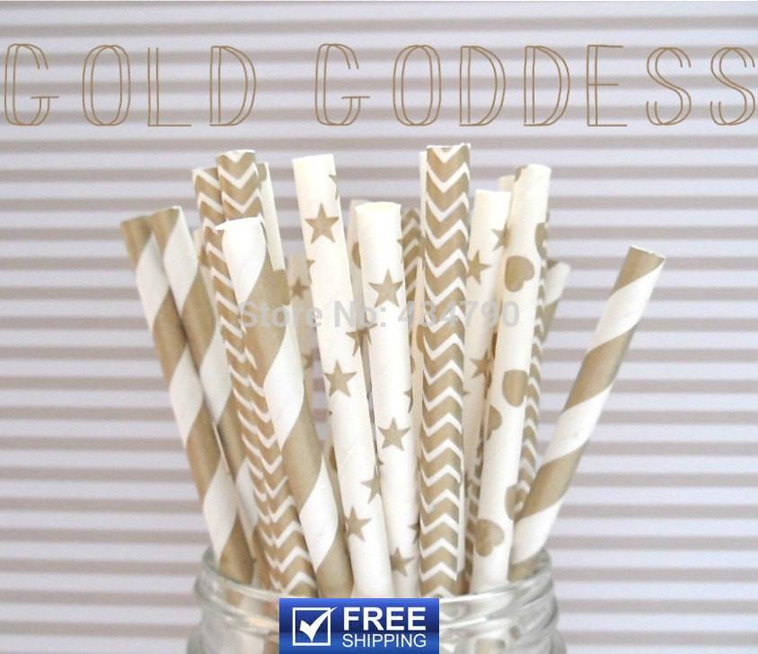 150pcs Mixed 6 Designs Gold Goddess Paper Straws Wedding Christmas Shower, Striped, Polka Dot, Chevron, Star,Sailor Stripe,Heart(China (Mainland))