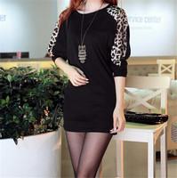 Plus Size S-XXL Long T-Shirt Women Leopard Long Batwing Sleeve Loose Casual Tops T Shirt Blouse Sexy Club Night Wear T18-40