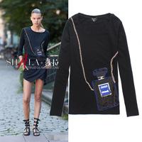 2014 perfume paillette elegant slim cotton long sleeve t shirt women 3colors S,M,L,XL