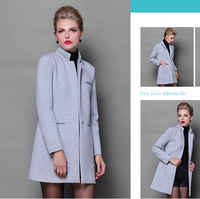 Brand new fashion ladies space cotton thick long warm trench coats gray color women clothing M4085A