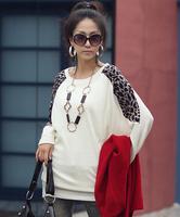 2015 Autumn Winter New Plus Size S-XXL Women Ladies Leopard  Split Patchwork Long Sleeve Loose Long T shirt tops sweatshirt
