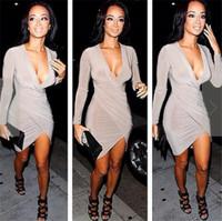 Europe Vestidos De Festa Curto Solid Deep V Neck Women Bodycon Dress Evening Party Club Wear Sexy Hem Bandage Dresses T11-65