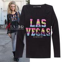 2014 autumn fashion colorful sequin letters slim long sleeve cotton t shirt women 2colors S,M,L,XL