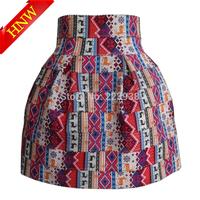 2015 New Women skirts Fashion Brand High waist Fawn Printed Pearl zipper Elastic Ball Gown High quality Short Skirt Plus size
