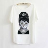 Audrey Hepburn Cat Batwing Sleeve T shirt 2014 Hot Retro Cool Punk T-shirt Women Top Fashion Tee Elegant Angel W4433