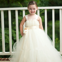 New Arrival Sewn Fower Girl Tutu Dress Empire Waist Babydoll Style Ivory Gown With Stain Flower Lace Wedding Party Dress