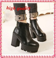 fashion boots fur motorcycle boots martin ladies shoes women snow boots autumn women ankle boots punk high heels female Y213