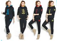 2014 Brand sweatshirt set Add wool upset Hooded sports leisure women suit  SIZE S~XXL