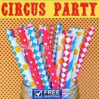 250pcs Mixed 5 Designs Circus Party Paper Straws Wholesale, Yellow, Blue, Red Striped, Swiss Dot, Polka Dot, Diamond