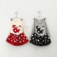 New design Children clothing set girls fashion skirts suit girls minnie long sleeve t-shirts + dot skirts . Girls fashion dress