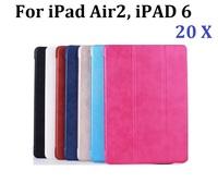 20pcs/Lot Wholesale for iPad 6 PU Leather Case Cover, PU Leather Cover + Hard PC Back Case Stand for iPad 6 iPad Air 2