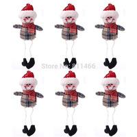 Christmas decoration accessories Christmas Grid Small Pendant Outseam Figurines 6 pcs/set-Khaki+Red+White+Multicolor-21000455