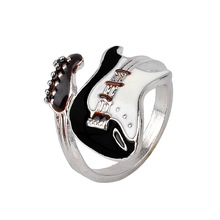 Personalized European Style Punk Style Bright Colorful Glazed Guitar Ring R1109